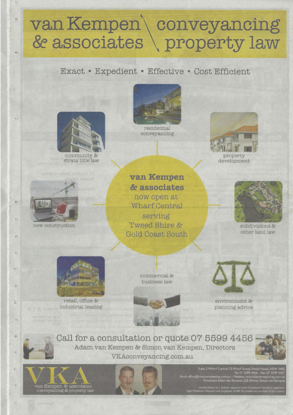 Tweed Daily News 1 Aug 2015 Full Page Ad copy